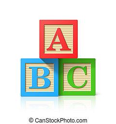 madeira, alfabeto, cubos
