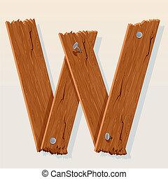 madeira, alfabeto, vetorial, w, letra