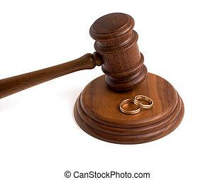 madeira, anéis, fundo, casório, gavel, branca