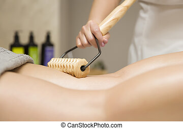 madeira, anti-cellulite, perna, massagem, maderotherapy, massager, rolo
