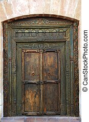 madeira, antiga, porta, indianas, oriental