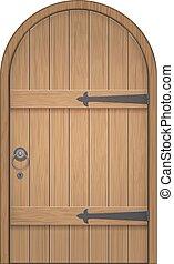 madeira, antigas, arco, porta