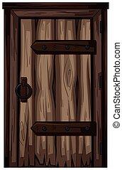 madeira, antigas, branca, porta, fundo