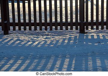madeira, antigas, inverno, cerca