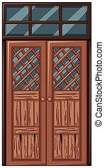 madeira, antigas, mau, porta, condição
