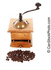 madeira, antigas, moedor café