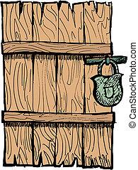 madeira, antigas, porta