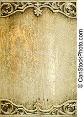 madeira, antigas, quadro, thailand., esculpido