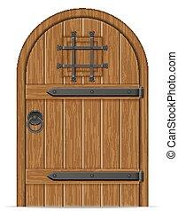 madeira, antigas, vetorial, porta, ilustração