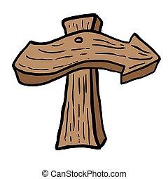 madeira, apontando seta