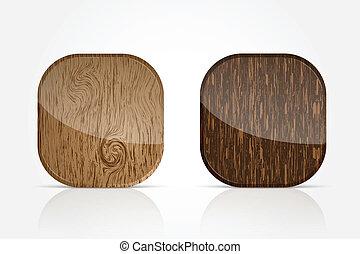 madeira, app, ícones