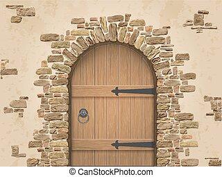 madeira, arco, pedra, porta, fechado
