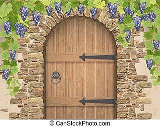 madeira, arco, pedra, porta, uvas