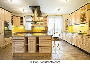 madeira, armários, em, luxo, cozinha