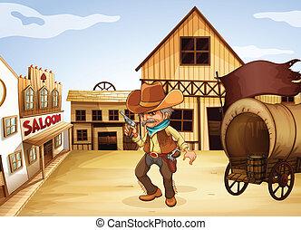 madeira, arma, costas, carruagem, segurando, homem