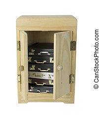 madeira, armoire, pastas, pilha