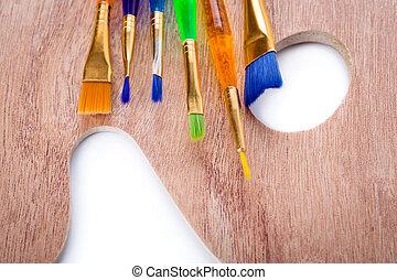 madeira, arte, paleta, com, pintar escovas