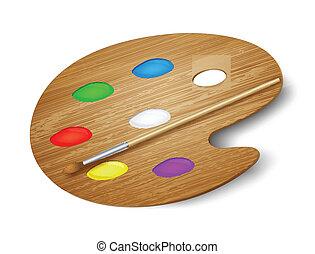madeira, arte, paleta, com, tintas, e, brush., vetorial