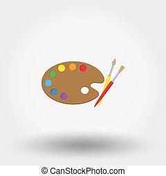 madeira, arte, paleta, com, tintas, e, brushes.