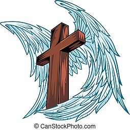 madeira, asas, anjo, crucifixos