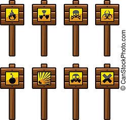 madeira, aviso, sinais