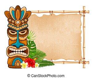 madeira, bambu, signboard, máscara, tiki