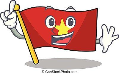 madeira, bandeira, vietnã, dedo, acima, tabela, caricatura