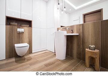 madeira, banheiro, em, luxo, casa