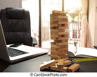 madeira bloqueia, game., concept., projeto, construção, plano, escrivaninha, torre, engenheiro