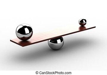 madeira, bolas, equilibrar, tábua