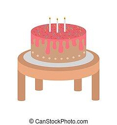 madeira, bolo, aniversário, feliz, tabela