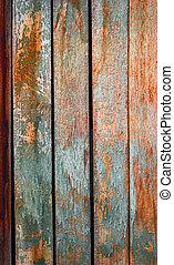 madeira, bom, roto, pintado, textura, experiência., usado, fundo, ou, parede