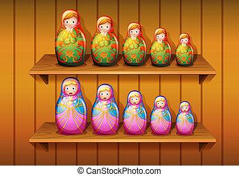 madeira, bonecas, organizado, prateleiras