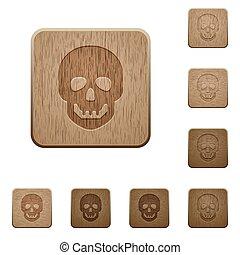 madeira, botões, crânio humano