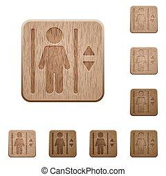 madeira, botões, elevador
