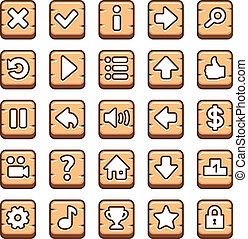 madeira, botões, jogo