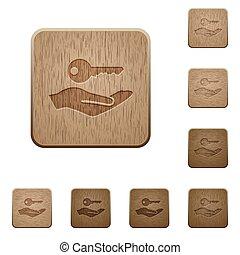 madeira, botões, segurança, serviço