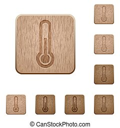 madeira, botões, termômetro