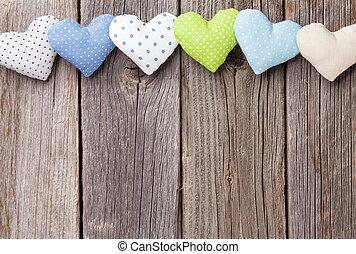 madeira, brinquedo, corações, Dia,  valentines