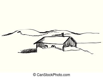 madeira, cabanas, em, paisagem montanha, vetorial, ilustração