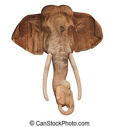 madeira, cabeça, esculpido, elefante