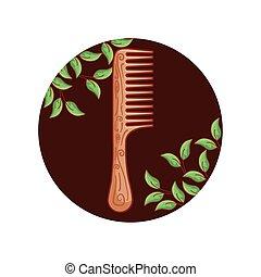 madeira, cabelo, quadro, pente, folheia