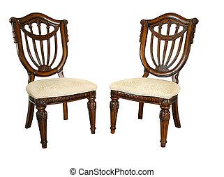 madeira, cadeiras, ornate
