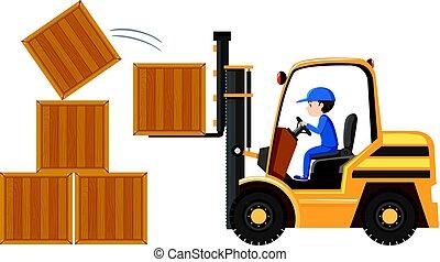 madeira, caixas, forklift, levantamento, homem