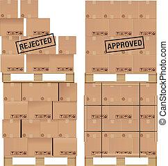 madeira, caixas, papelão, paleta