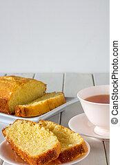 Madeira Cake Sliced on Plate with Tea