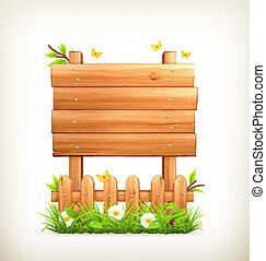 madeira, capim, vetorial, sinal