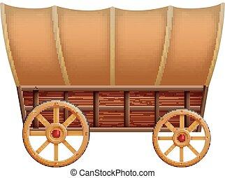 madeira, carruagem, fundo branco