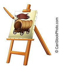 madeira, carruagem, quadro