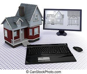madeira, casa, desenhos técnicos, computador, clássicas